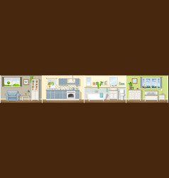 With four classic residential interiors panorama vector