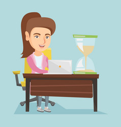 Young caucasian business woman working in office vector