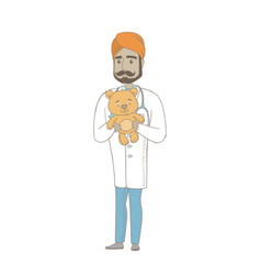 young indian pediatrician holding teddy bear vector image