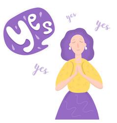 Young woman said yes cartoon vector