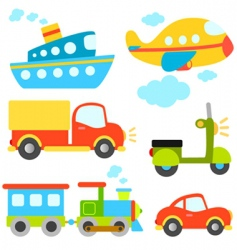 cartoon vehicles set vector image vector image