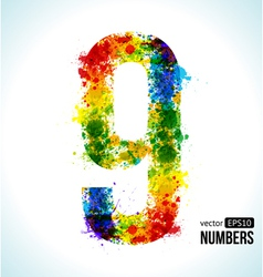 Color paint splashes Gradient Number 9 vector image vector image