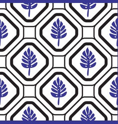 geometric mediterranean rhombus with leaves vector image
