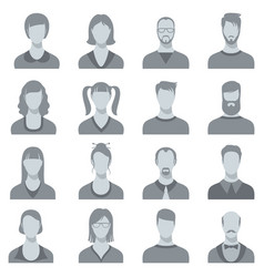 man and woman face portrait silhouettes vector image