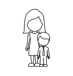 silhouette woman with her son vector image vector image