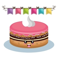 sweet birthday cake card vector image vector image