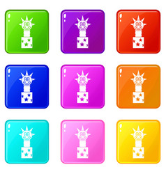 toy jumping out of box icons 9 set vector image vector image