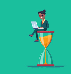 black man sitting on the hourglass with laptop vector image vector image