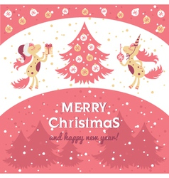 horse card for new year and Christmas vector image