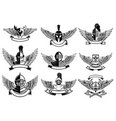 Set of emblems with helmets and wings design vector