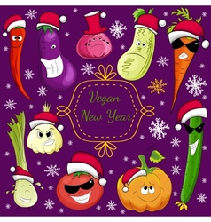 vegan new year set of New Years vegetables vector image