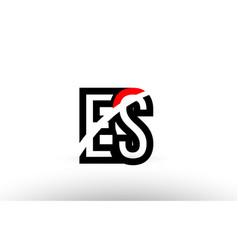black white alphabet letter es e s logo icon vector image