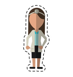 cartoon doctor female with head mirror and coat vector image