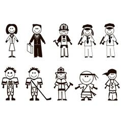Cartoon professions icons vector