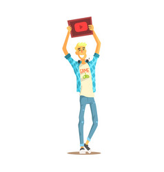 cheerful young bloger man standing with a tablet vector image vector image