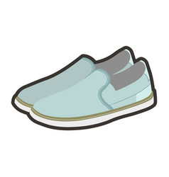 Mens light summer shoes made of blue fabric vector
