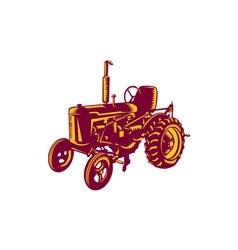 Vintage Farm Tractor Woodcut vector image