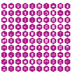 100 cleaning icons hexagon violet vector