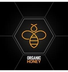 Bee logo on honeycomb background vector image