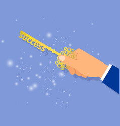 businessman hand holding key of success vector image vector image