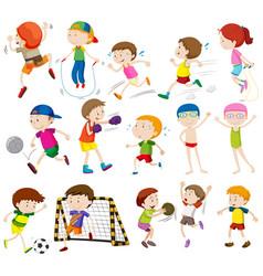 children doing different activities vector image