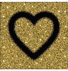 gold glitter texture and heart frame vector image