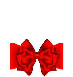 Greeting card template with red bow vector image vector image