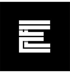 Letter E wide white stripes Logo monogram emblem vector image