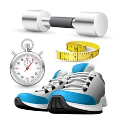 Pair of running shoes stopwatch and measuring tape vector image