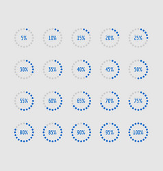 pie charts circle percentage diagrams of loading vector image