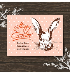 Retro Easter card Sketch watercolor Easter rabbit vector image vector image