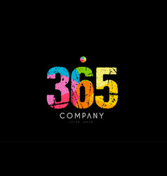 365 number grunge color rainbow numeral digit logo vector image