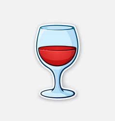A glass red wine vector