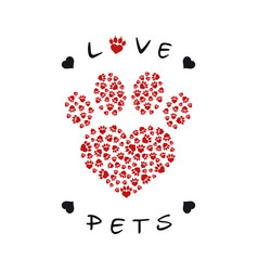 a paw print made with heart shape vector image
