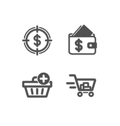Add purchase wallet and dollar target icons vector