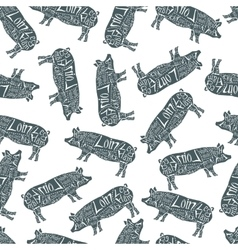 American cuts of pork seamless pattern vector image