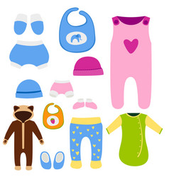 baby clothes icon set design textile casual vector image