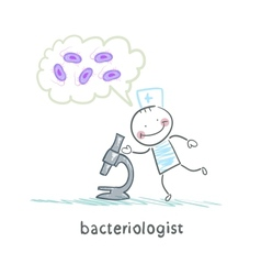 Bacteriologist microscope looks and thinks about vector