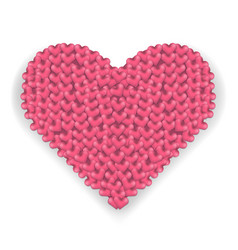 big pink heart made of hearts with shadow vector image