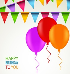 Birthday card with colored ribbons and balloons vector image