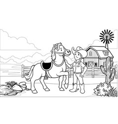 black and white coloring page happy cowgirl with vector image