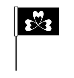 Black and white flag with clover symbol vector