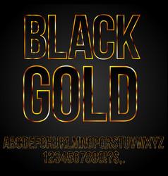 black gold font vector image