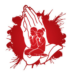 boy and girl prayer christian praying praise god vector image