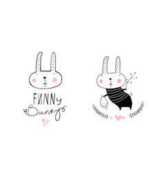Bunny rabbit kids logotype vector
