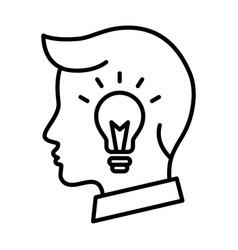 Business man head lightbulb creative idea icon vector