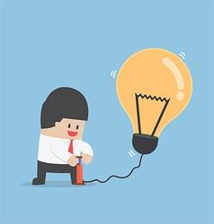 Businessman pumping air into idea balloon vector image