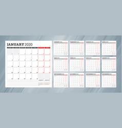 Calendar planner for 2020 year week starts vector