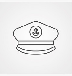 captain hat icon sign symbol vector image