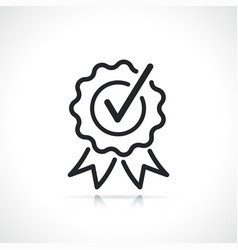 certificate or quality badge thin line icon vector image